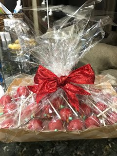 Red Apple Cake Pops Ready for Giving