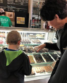 Picking out Chocolate Candies