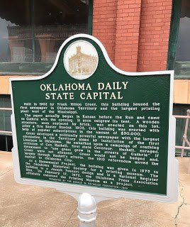 Oklahoma Daily State Capital Sign in Guthrie Oklahoma