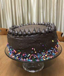Dark Chocolate Tuxedo Cake with Sprinkles
