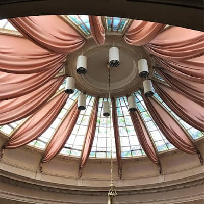 Draperies on Domed Stained Glass Ceiling