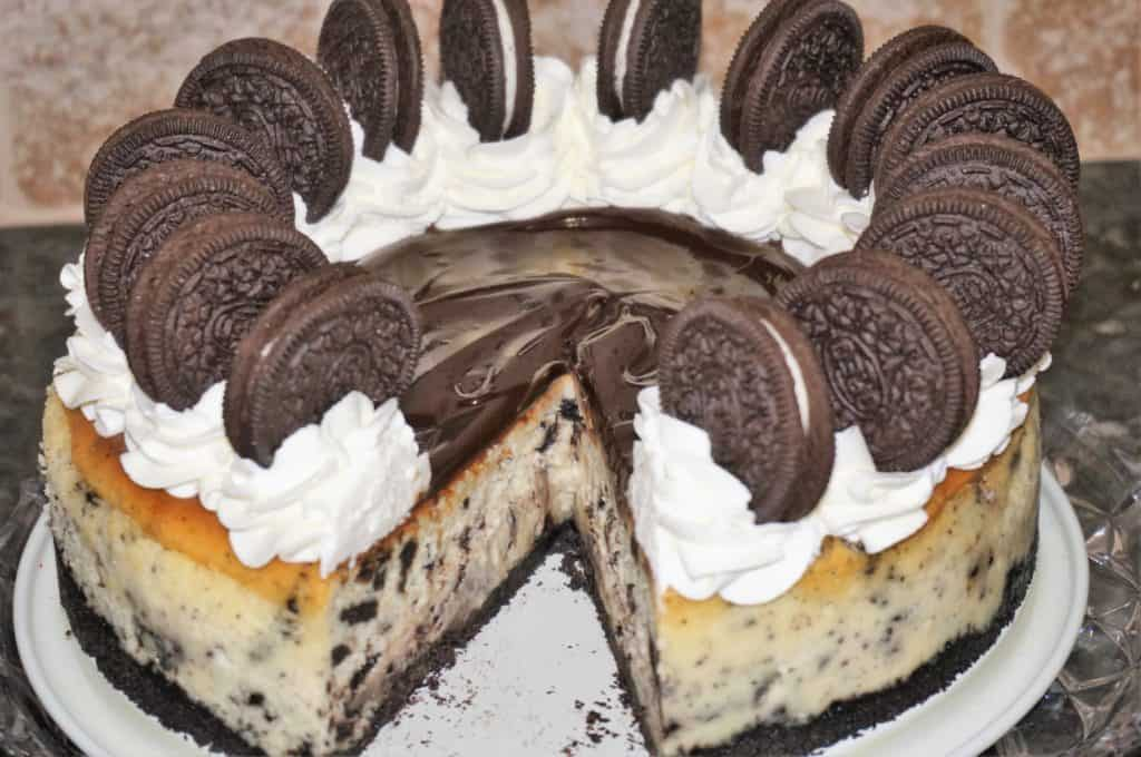 Oreo Cheesecake with slice missing