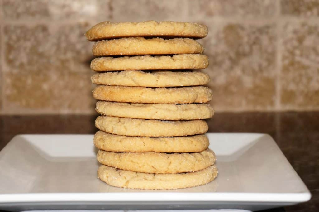straight stack of peanut butter cookies