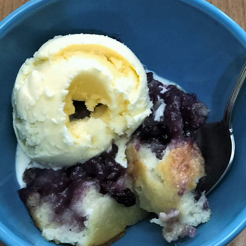 Bowl of Blueberry Cobbler and Ice Cream
