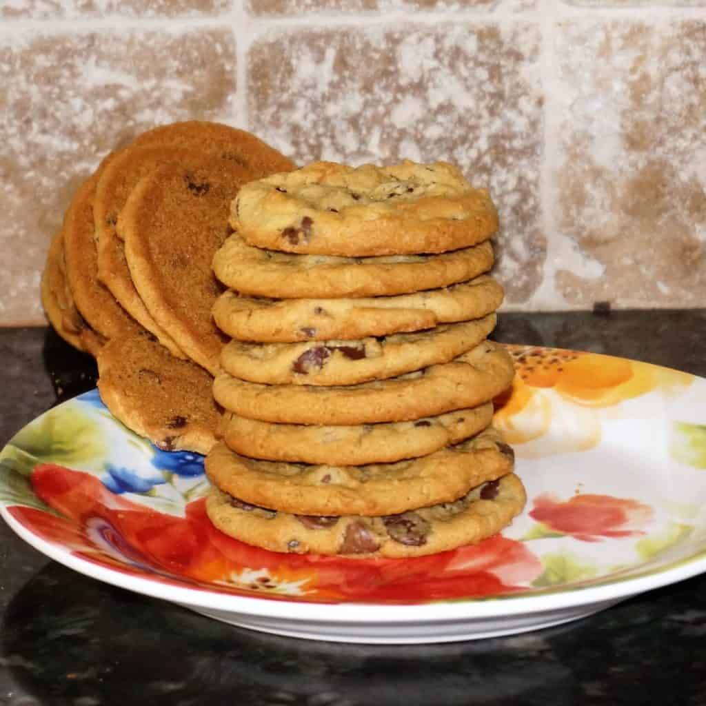 Fallen Stack of Peanut Butter Chocolate Chip Cookies