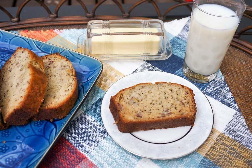 Banana Nut Bread on Plate
