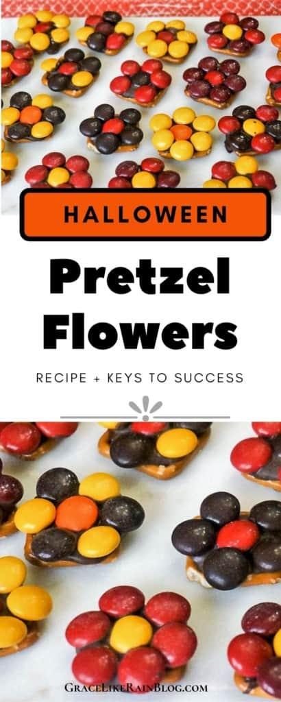 Halloween Pretzel Flowers