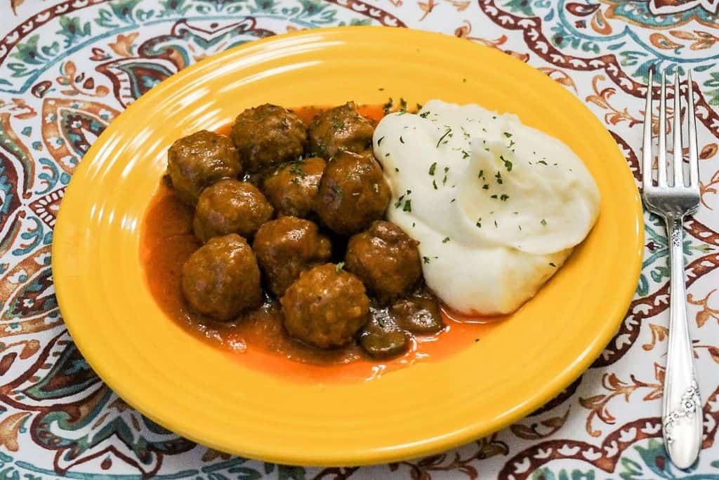 Mushroom Meatballs and Mashed Potatoes