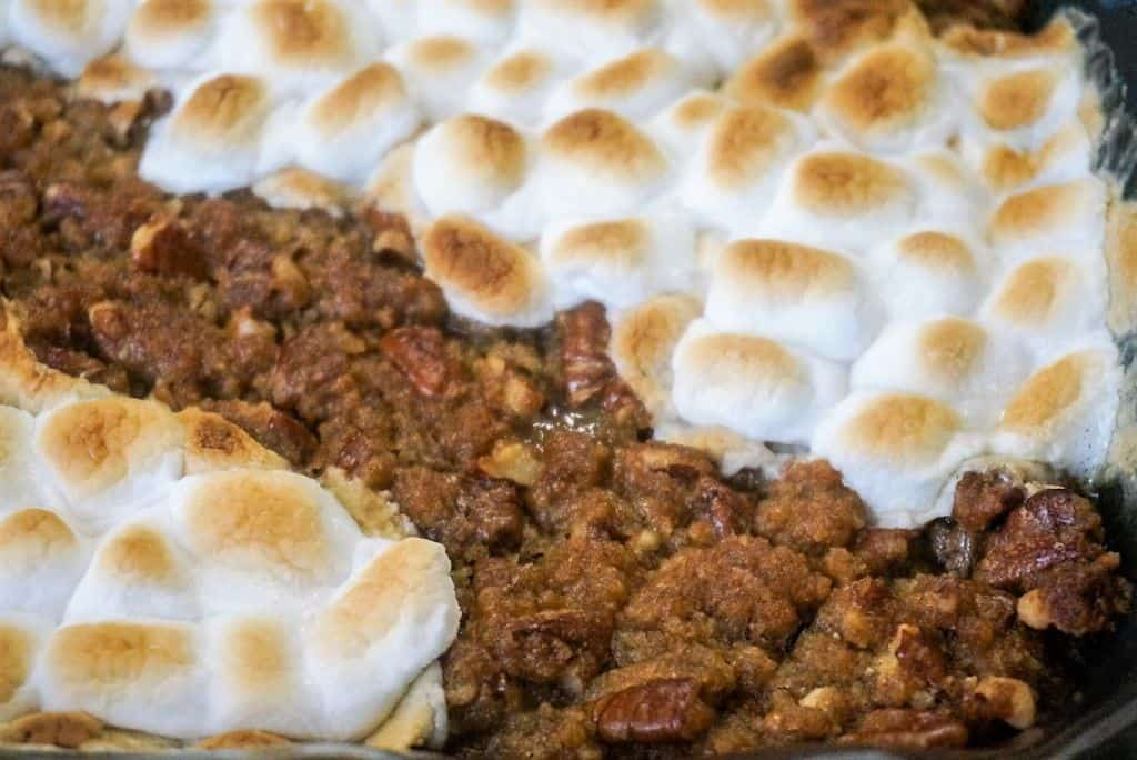 Sweet Potato Casserole With Pecan Topping and Marshmallow Rows