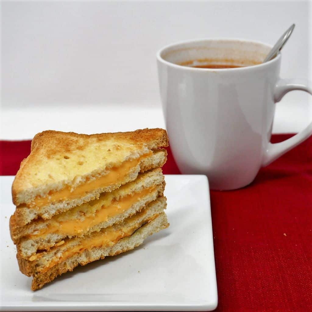 Grilled Cheese Sandwich and Cup of Tomato Soup