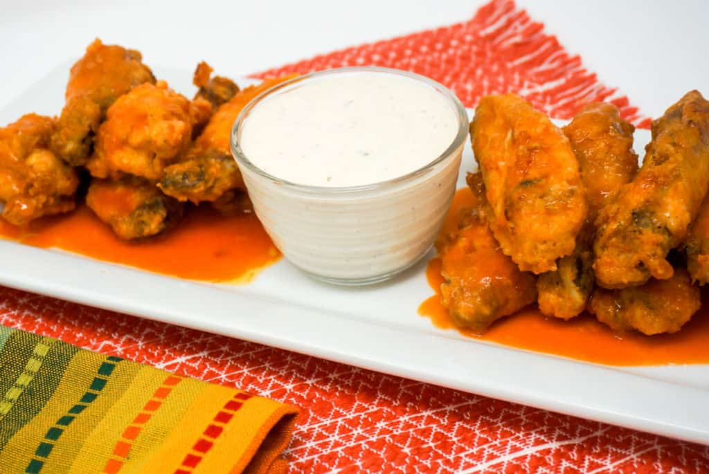 Air Fryer Buffalo Chicken Wings with Ranch Dressing