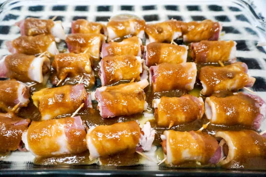 Brown Sugar Bacon Wrapped Smokies Ready to Bake