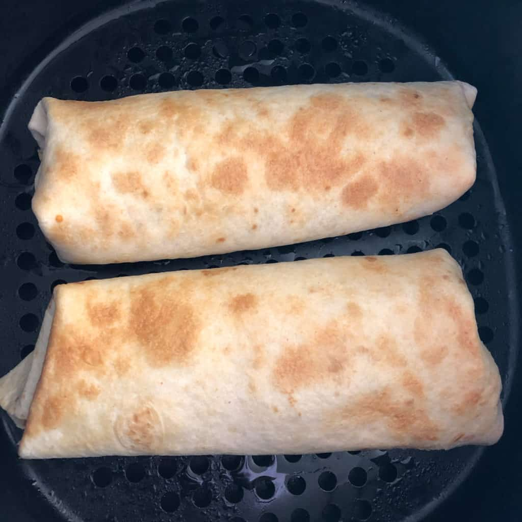Air Fryer Beef and Bean Chimichangas