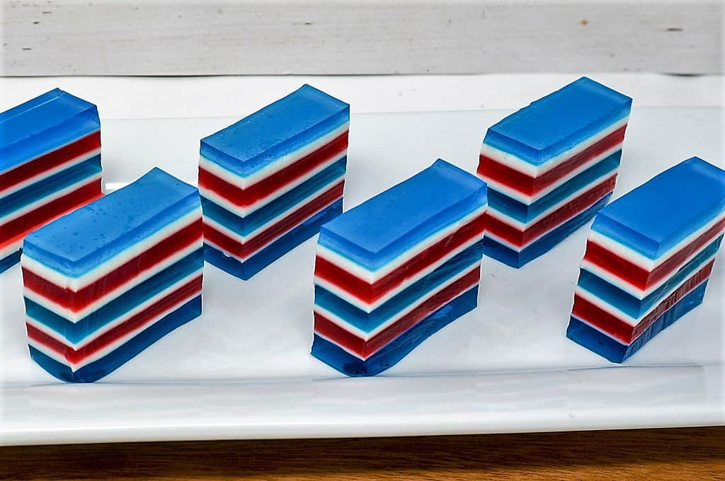 Red White and Blue Layered Jello