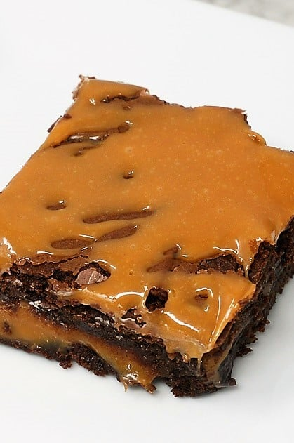Caramel Brownies with cocoa powder