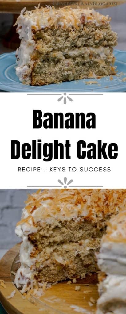 banana delight cake with banana nut frosting