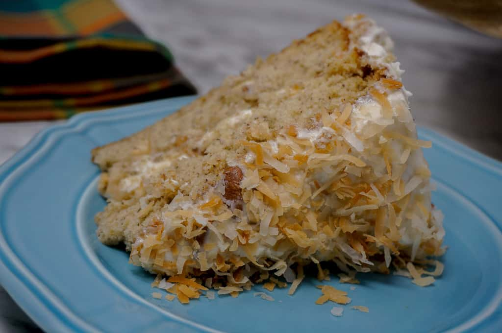banana delight cake with toasted coconut