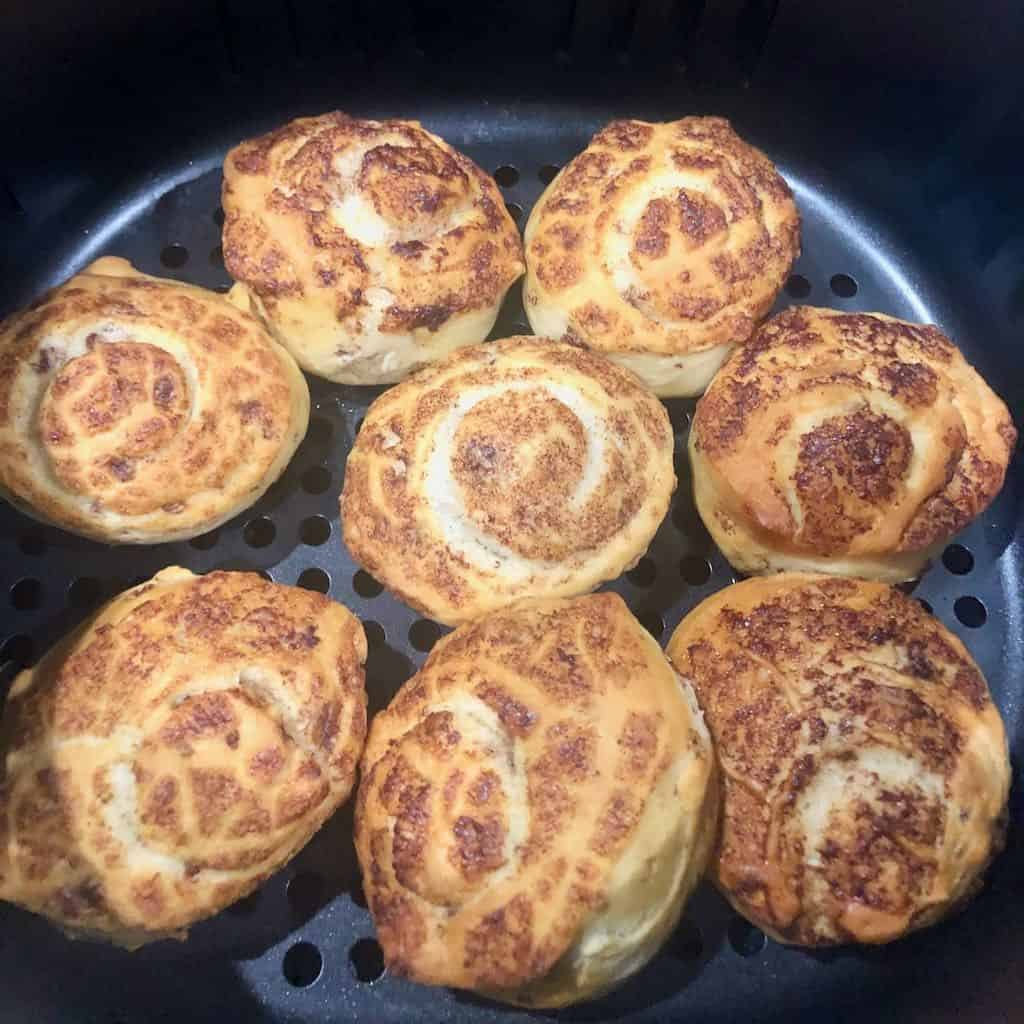 Cinnamon Rolls in the Air Fryer Basket
