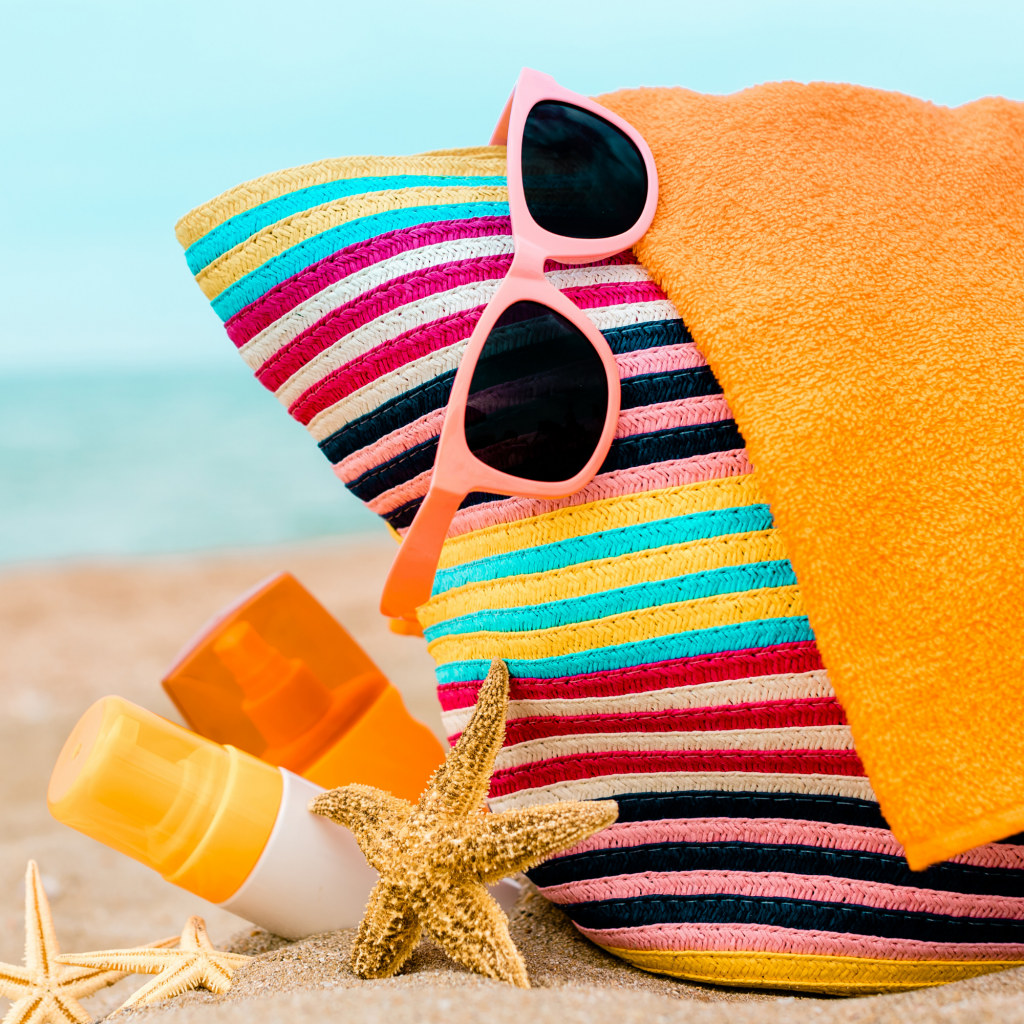 Beach bags and sunglasses